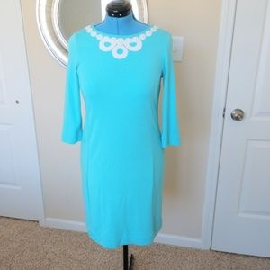 Lilly Pulitzer Turquoise an White Dress Size M